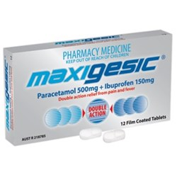 MAXIGESIC Paracetamol Anti Inflam Without Codeine Pack 12