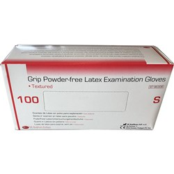 Gloves DE Grip Latex Pwd Free Examination Small Box 100
