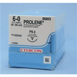 SUTURE Ethicon Prolene 16mm 6/0 PS-3 3/8 Bl Cir Revcut x12