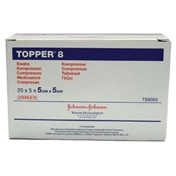 TOPPER Gauze Sterile 5 x 5cm Carton of 25 Packs of 5