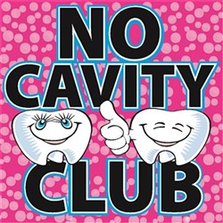 No Cavity Club Stickers Novelty Designs Roll of 100