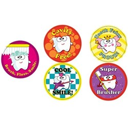 Assorted Dental Stickers Novelty Designs Roll of 100