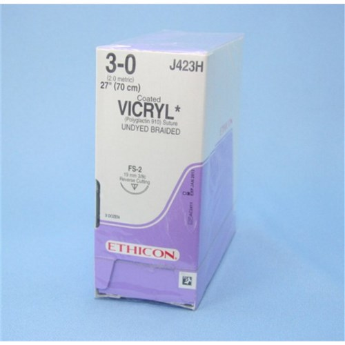 SUTURE Ethicon Vicryl 19mm 3/0 FS2 3/8 circle reverse cut x36