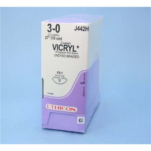 SUTURE Ethicon Vicryl 24mm 3/0 67cm 3/8 Circle Rev Cut x 36